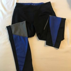 Black blue and grey workout tights